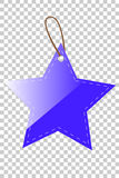 Blue Shining Star Blank Tag whith stiching, at transparent effect background Royalty Free Stock Photo