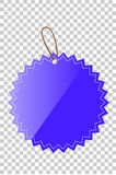 Blue Shining Star Blank Tag whith stiching, at transparent effect background Royalty Free Stock Image