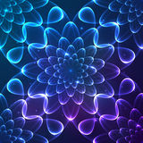 Blue shining vector cosmic flower seamless pattern Stock Photo