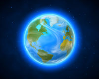 Blue shining vector Earth in space Royalty Free Stock Image