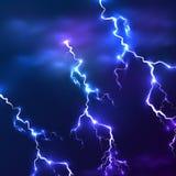 Blue shining vector lightnings background Stock Photo