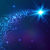 Blue shining vector star with dust tail Stock Images