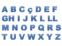 Blue shiny alphabet. Blue, plastic texture alphabet, isolated in white Stock Images