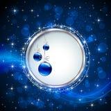Blue shiny baubles Stock Photo