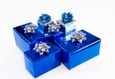Blue shiny boxes for gifts Royalty Free Stock Photos