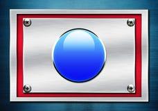 Blue shiny button on metallic Stock Photo