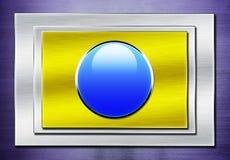 Blue shiny button on metallic Royalty Free Stock Photo