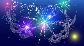 Blue shiny carnival background with masks and firework. Blue shiny carnival background with white masks, flags and firework. Vector illustration Stock Image