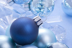Blue shiny christmas balls Royalty Free Stock Photos