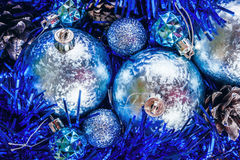 Blue shiny Christmas balls. Christmas ball with blue sparkles Royalty Free Stock Photo