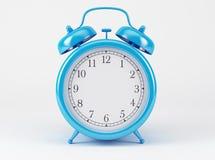 Blue Shiny Clock. On white background Royalty Free Stock Photos