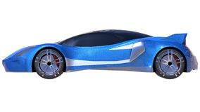 Blue shiny conceptual sports car of the future. Royalty Free Stock Images