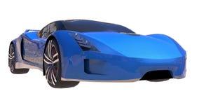 Blue shiny conceptual sports car of the future. Royalty Free Stock Photos