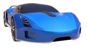 Blue shiny conceptual sports car of the future. Royalty Free Stock Photo