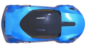 Blue shiny conceptual sports car of the future. Royalty Free Stock Image