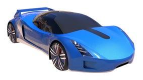 Blue shiny conceptual sports car of the future. Stock Photo