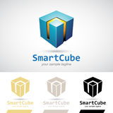 Blue Shiny 3d Cube Logo Icon. Vector Illustration Stock Photo