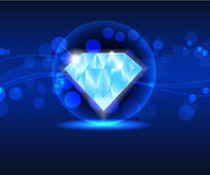 Blue shiny  diamond Royalty Free Stock Photos