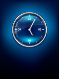 Blue shiny elegant clock Royalty Free Stock Photos