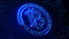 Blue Futuristic Digital Art Bitcoin Logo Symbol Cryptocurrency 3D Perspective Motion View