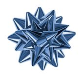 Blue shiny gift bow Stock Images