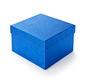 Blue shiny gift box  on white Royalty Free Stock Photography