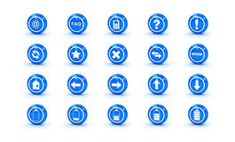 Blue shiny gloss icons for web design Royalty Free Stock Photo