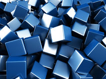 Blue shiny glossy cubes blocks chaotic background. 3d render illustration royalty free illustration