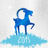 Blue shiny goat. Shiny blue chinese goat on snowflakes. 2015 new year bright background design Royalty Free Illustration
