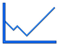 Blue Shiny Graph Heading Up. Blue shiny graph with upward trend royalty free illustration