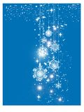 Blue shiny Happy New Year and Merry Christmas card with Christmas balls. Greeting card or festive poster template. Blue Snowflake Ornament Happy Holidays Square royalty free illustration