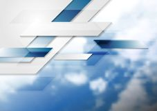 Blue shiny hi-tech background and cloudy sky Royalty Free Stock Photo