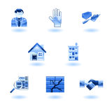 Blue Shiny Real Estate Icons royalty free illustration