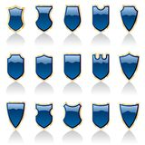 Blue shiny shields Stock Photo