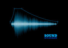 Blue shiny sound waveform with envelope Stock Image