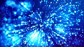 Blue shiny sparkling particles with light rays move in a viscous liquid. It is 4k 3d animation as abstract background. Blue shiny sparkling particles with light stock video