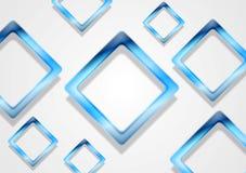 Blue shiny squares on white background Royalty Free Stock Images