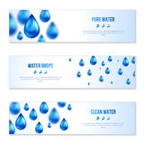 Blue shiny water drops banners set Royalty Free Stock Image