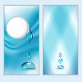 Blue shiny water drops banners set. Stock Images