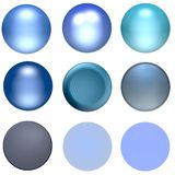 Blue Shiny Web Buttons And Bal. L Designs Royalty Free Stock Photos