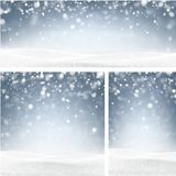 Blue winter backgrounds with snow. Blue shiny winter backgrounds set with landscape and snow. Vector illustration Royalty Free Stock Photos