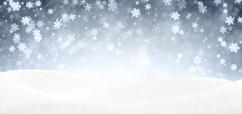 Blue winter banner with snowflakes. Blue shiny winter landscape banner with snowflakes. Vector illustration Stock Photos