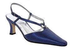 Blue shiny woman shoes Royalty Free Stock Photo