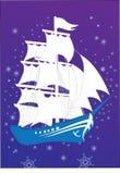 Blue ship. Fantastic blue ship, night, one royalty free illustration