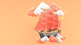 Blue Ship With orange sails Floating in the clouds and stars on the orange background. vector illustration