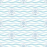 Blue Ship`s Wheel , Seamless Pattern Stock Photography