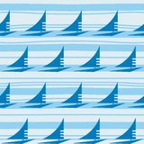 Blue ship on striped background. Royalty Free Stock Photo