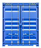 Blue shipping container. 3d rendering of blue shipping container. Front view. Isolated on white Stock Photo