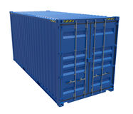 Blue shipping container. 3d rendering of blue shipping container. Isolated on white Royalty Free Stock Image