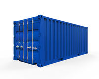 Blue Shipping Container. Isolated on white background. 3D render Royalty Free Stock Images